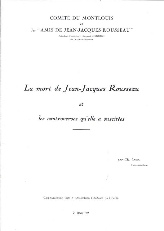 La mort de Jean Jacques Rousseau et les contreveses qu'elle a suscitée