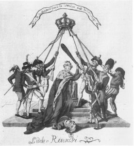 """""""The Idol Overturned."""" France, portrayed as a beautiful woman with robe of the Bourbon monarchy and armed with a club, appears triumphant over the fallen Louis XVI, while soldiers, members of the National Guard, and ordinary citizens hold the crown of France on high, a gesture suggesting the need for a new monarch. Etching with hand coloring in the original, 1791."""